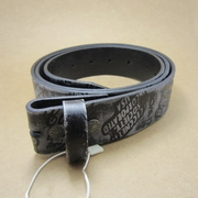 Classic Black Etched Embossed Genuine Leather Real Leather Belt