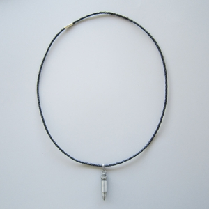 Cut Out Bullet Shape Pendant Charm Braided Leather Necklace NECKLACE-002