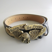 Eagle Biker Rider Belt Buckle W Classic Black PU Leather Belt