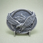New Vintage Silver Plated American Pride Eagle In Flight Legend Oval Western Belt Buckle