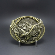 Vintage Bronze Plated American Pride Western Eagle In Flight Oval Belt Buckle
