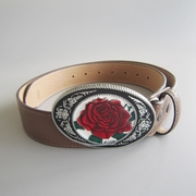 Enamel Rose Flower Western Oval Belt Buckle W Brown Synthetic Leather Belt