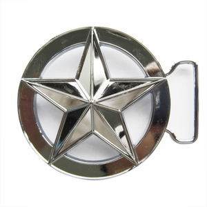 New Bright Silver Circle Star Belt Buckle Gurtelschnalle Boucle de ceinture