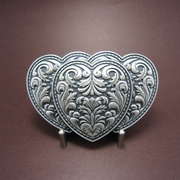 New Vintage Silver Plated Triple Hearts Western Rodeo Belt Buckle Gurtelschnalle Boucle de ceinture