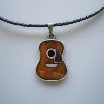Guitar Music Metal Charm Pendant Leather Necklace