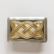 JEAN'S FRIEND Original Vintage Silver Gold Double Color Cross Knot Celtic Belt Buckle