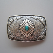New Vintage Silver Plated Original Southwest Enamel Totem Rectangle Belt Buckle Gurtelschnalle Boucle de ceinture BUCKLE-WT144SL