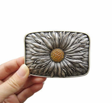 New Original Antique Silver Plated Rhinestones Blooming Daisy Bling Belt Buckle