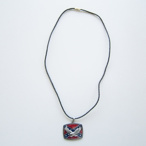 Jean's Friend New Leather Necklace Western Eagle Flag Metal Pendant Charm Necklace