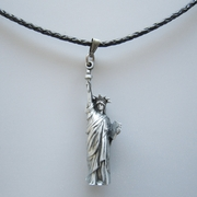 Liberty Enlightening the World Pendant Charm Braided Leather Necklace