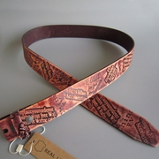 Brown Etched Embossed Genuine Leather Solid Real Leather Belt