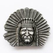 New Vintage Western Native Chief Belt Buckle Gurtelschnalle Boucle de ceinture BUCKLE-WT003AS