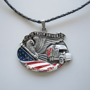 American Hero Truck Driver Metal Charm Pendant Leather Necklace