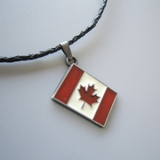 Enamel Canada Flag Charm Pendant Wedding Leather Necklace