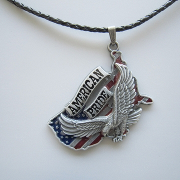 Eagle American Pride Metal Charm Pendant Leather Necklace