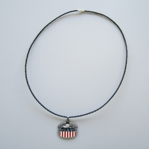 Fly Eagle Flag Metal Charm Pendant Leather Necklace