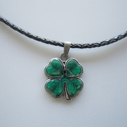 Enamel Four Marple Leaf Metal Lucky Charm Pendant Leather Necklace