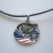 American Hero Coast Guard Metal Charm Pendant Leather Necklace