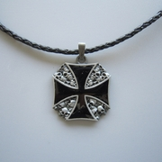 Iron Cross W Skulls Metal Charm Pendant Leather Necklace