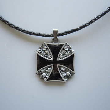 New Vintage Cross W Skulls Metal Charm Pendant Leather Necklace