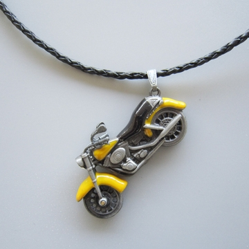 Motorcycle Rhinestone Spinner Metal Charm Pendant Leather Necklace