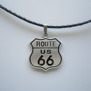 Motorcycle Biker Rider Metal Charm Pendant Leather Necklace