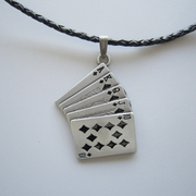 Blacke Enamel Royal Flush Poker Card Metal Charm Pendant Leather Necklace