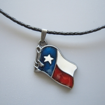 Enamel Nation Flag Metal Charm Pendant Leather Necklace
