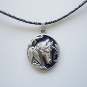 Blue Enamel Western Horse Oval Metal Charm Pendant Leather Necklace