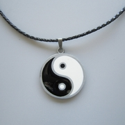 Yinyang Taiji Metal Charm Pendant Leather Necklace