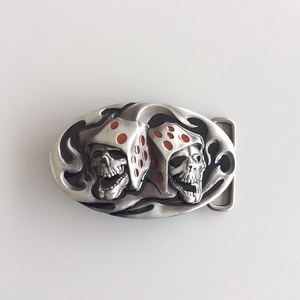 New Jean's Friend Original Enamel Tattoo Skull Dice Casino Gamble Oval Belt Buckle