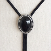 New JEAN'S FRIEND Original Nature Black Obsidian Stone Oval Wedding Bolo Tie Necklace