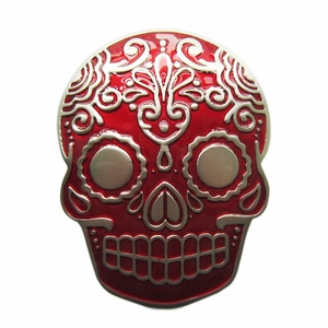 New Red Enamel Matter Silver Plated Tattoo Skull Belt Buckle Gurtelschnalle Boucle de ceinture