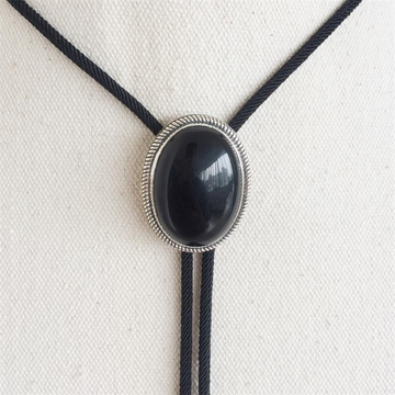 New Original Vintage Sterling Silver 925 Nature Black Obsidian Stone Oval Wedding Bolo Tie Necklace
