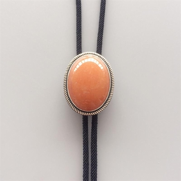 New Original Vintage Sterling Silver 925 Nature Red Aventurine Stone Wedding Oval Bolo Tie Necklace