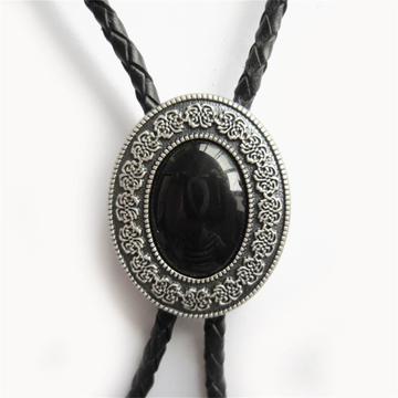 Original Silver Plated Small Size Vintage Black Obsidian Stone Oval Bolo Tie Leather Necklace