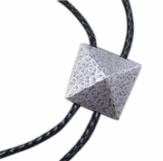 New Vintage Silver Plated Original Geometric Patterns Wedding Bolo Tie Leather Necklace