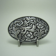New Vintage Silver Plating Western Cowboy Cowgirl Flowers Oval Belt Buckle