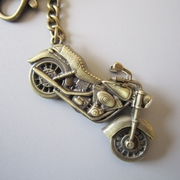 New Vintage Bronze Plated 3D Motorcycle Rhinestone Biker Rider Metal Charm Pendant Key Ring Key Chain