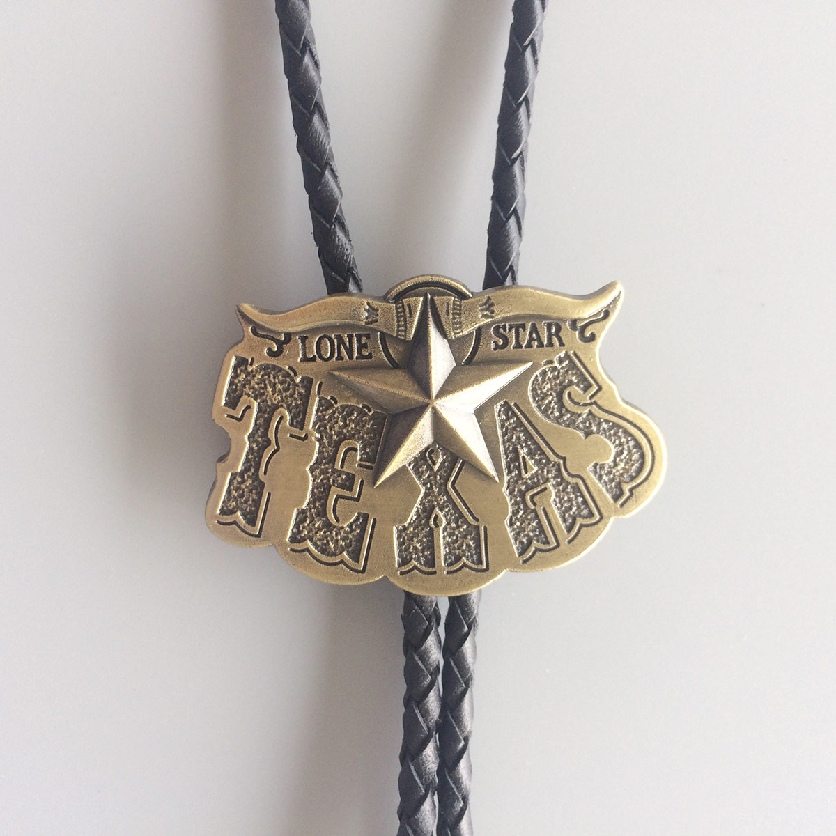 Bronze Plated Western Cowboy Star Leather Neck Bolo Tie