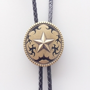 New Vintage Bronze Plated Original Western Oval Star Wedding Bolo Tie Leather Necklace