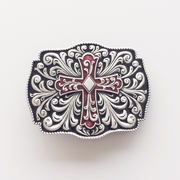 New Vintage Classic Red Black Enamel Western Flowers Belt Buckle Gurtelschnalle Boucle de ceinture