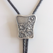 New Vintage Silver Plated Carving Braided Flowers Western Bolo Tie Necklace