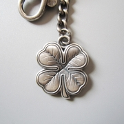 New Vintage Silver Plated Irish Lucky Four Marple Leaf Metal Pendant Charm Key Ring Key Chain