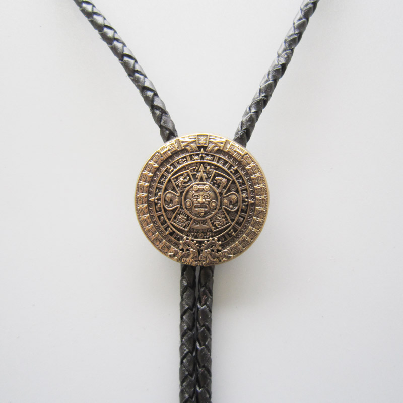 New original classic antique gold plated aztec calendar wedding bolo new original classic antique gold plated aztec calendar wedding bolo tie leather necklace aloadofball Image collections