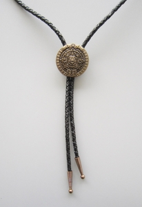 New Original Classic Antique Gold Plated Aztec Calendar Wedding Bolo Tie Leather Necklace
