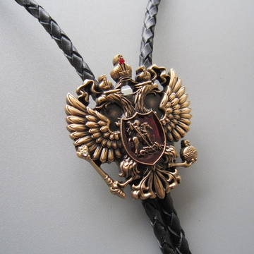 New Original Antique Gold Russian Double Headed Empire Eagle Rhinestone Wedding Bolo Tie Leather Necklace