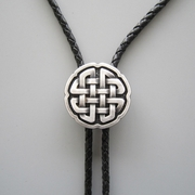 Jeansfriend New Original Vintage Real Silver Plated Wedding Celtic Cross Knot Bolo Tie Leather Necklace