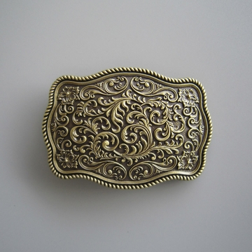New Classic Vintage Bronze Plated Western Flower Pattern Rectangle Belt Buckle
