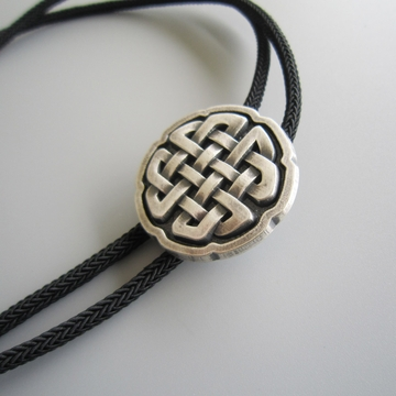 New Vintage Original Cross Celtic Knot Bolo Tie Necklace With Sky Systems Jewelry Fiber Braided Rope